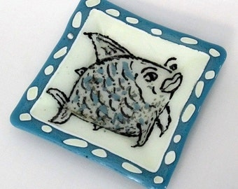 Square glass hand painted fish dish bowl blue and ivory white