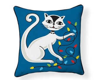 Cat with String Lights Pillow