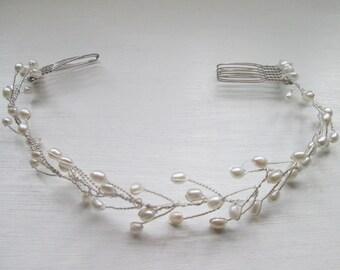 bridal headpiece /wedding headband /Grecian /Boho /Bridal hair accessories /wedding hair accessories/ hairvine Handmade pearl bridal circlet