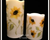 Flameless LED SUNFLOWER Candle - Hand Painted Sunflowers all around - with TIMER - 6 inch or 4 inch