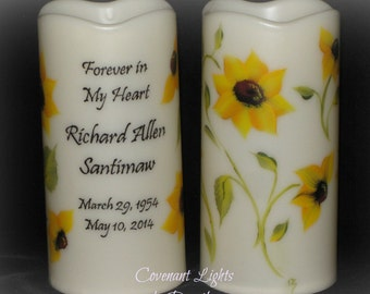 Flameless LED MEMORIAL Candle - Personalized, Hand Painted Sunflowers with TIMER option