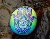 Hamsa Hand Stone / Spiritual Stone / Hand Painted Rock / Middle Eastern Amulet