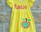 AWESOME APPLE Yellow Back to School -  Monogram Personalized Dress - 12m-10 years  - Julianne Originals
