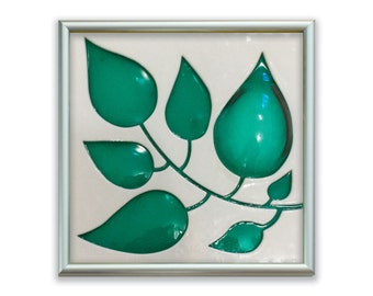 Leaves Fused Glass Art Tile in White/Teal Green