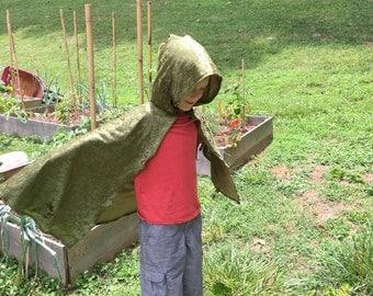 Moss Green Velvet Hooded Cloak