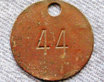 Miners Brass Tag Number 44 Antique Coal Mining Tool Id Check Numbered Fob Keychain Token Rustic Relic for Repurpose