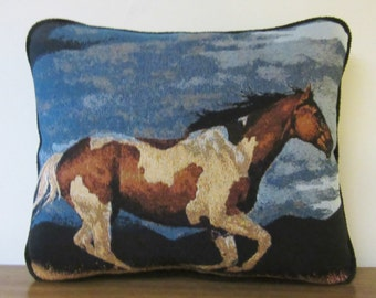 Horse Stallion Paint Horse Thunder Storm Tapestry Pillow Blues Black Piping Trim