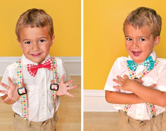 Dapper Bow Tie and Suspenders PDF Downloadable Pattern by MODKID - Instant Download
