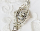 "Handmade Lace Bridal Belt | Couture Pearl & Crystal Art Deco Edwardian Inspired Wedding Sash  |  ""Victorine"""