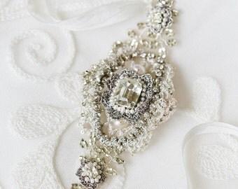 "Handmade Lace Bridal Belt | Couture Pearl & Crystal Art Deco Edwardian Inspired Wedding Sash  |  ""Victorine"""