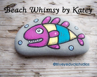 on sale, Fish Folk Art, Original hand painted Beach Rock, Lake Erie, handpainted, earth art, reclaimed, inked, stone, Pocket Smile