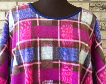Plus Size Plaid Fleece Caftan