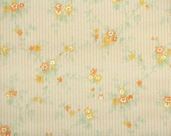 1930s Vintage Wallpaper by the Yard - Antique Floral Wallpaper Yellow Orange Watercolor Flowers