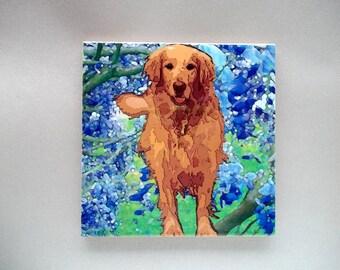 Golden Retriever tile trivet, 4x4 inch tile,Golden  gift,dog gift,heat proof trivet,retriever display,Golden coaster