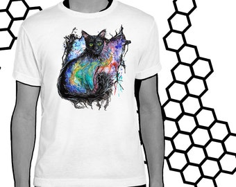 Black Cat Nebula - Galaxy Watercolor Art T-Shirt Youth and Adult Sizes