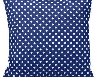 "POLKA DOTS On Navy - Throw Pillow, Decorative Pillow, Pillow Cover, Pillow Insert, Pillow Case - SQUARE- 17"" x 17"" - Zipper Closure"