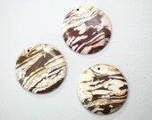 Bronze Zebra Jasper 50mm Round Focal Stones (Set of 3)