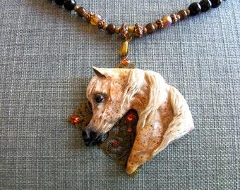 Filigree Fleabitten Arabian Horse Necklace Pendant
