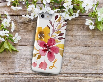 iPhone 7 Personalized Case  - Yellow and Pink floral watercolor  - Mustard Bloom - other models available