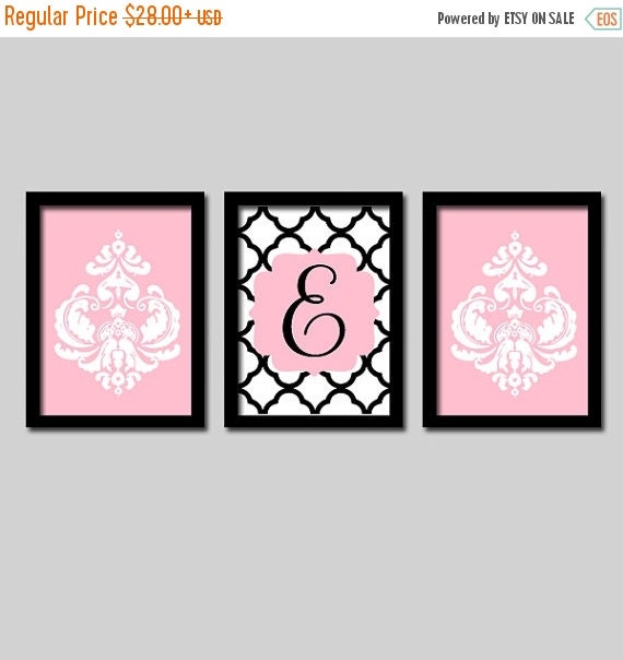 Pink Black Wall Decor : Pink black wall art monogram damask by