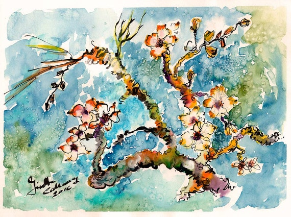 Blossoming Almond Tree after Vincent VanGogh