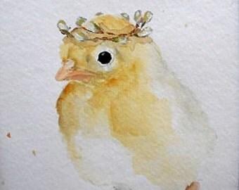 Chick watercolor painting original nursery art baby Princess Chicken