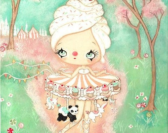 Carousel Art Merry Go Round Bird Art Carnival Girl The Cupcake Carousel Panda Bunny Art Original Painting 12 x 16