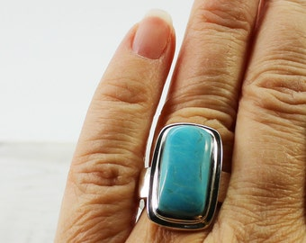 Turquoise and silver ring genuine turquoise stone natural turquoise jewelry american turquoise sleeping beauty real turquoise silver rings