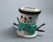 Miniature Primitive Wood Snowman Thread Spool Carving, Wooden Snowmen Christmas Ornaments