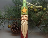 Wood Carved  Santa Christmas Ornament, Carved Gnome Wooden Ornament