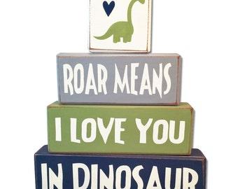 Dinosaur Decor kid's room Dinosaur stacking sign blocks dinosaur baby shower, roar means i love you rawr dinosaur nursery painted blocks