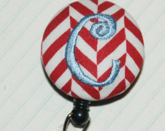 Many fabrics to design YOUR Badge Reel. Monogrammed single letter, #142