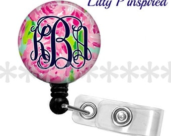 Personalized ID reel with MYLAR covering......Lilly P inspired.. add a MONOGRAM