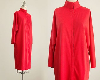 90s Vintage Red Batwing Tunic Duster Coat Maxi Dress / Size Medium