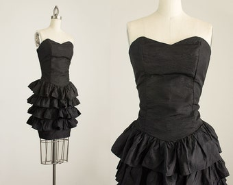 90s Vintage Black Strapless Ruffle Mini Dress / Size Small