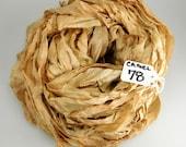 Sari Silk ribbon, Recycled Silk Sari Ribbon, Ribbon yarn, camel brown sari ribbon, light brown ribbon
