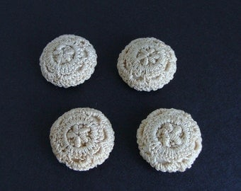 Set of 4 Antique Fabric Crochet Lace Buttons
