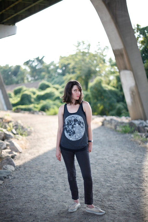 Moon tank top - womens tank / tank top women - full moon print, heather black - womens top - moon shirt by Blackbird Tees