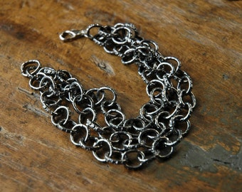 Chunky Chain Bracelet, Statement Jewelry, Large Link Chain, Silver Chain Bracelet