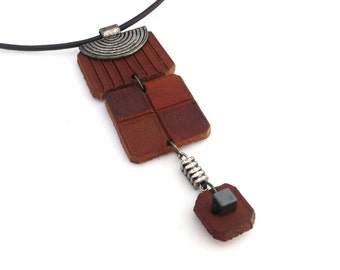 Leather Necklace, One of a Kind Leather Jewelry, Handmade Leather Accessories for Women