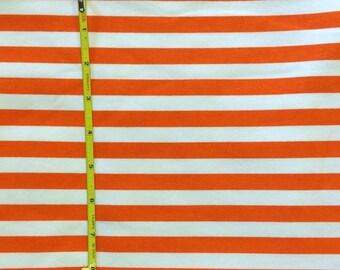 "NEW Premium white and orange stripe on  cotton lycra knit fabric 95/5 58"" wide."