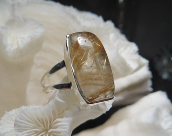 Golden Rutile Agate Ring Size 10
