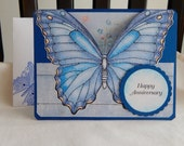 Anniversary card, butterfly, handmade, blue, complete inside, complete outside, balsampondsdesign, greeting card, cards