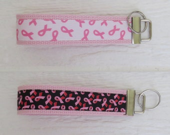 Breast Cancer Key Fob- Wristlet - White or Black Ribbon