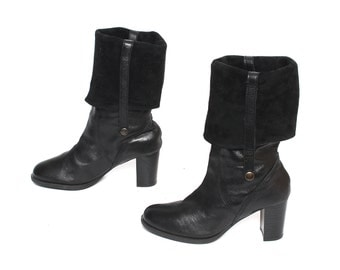 size 8 CUFFED black leather 70s 80s BOHEMIAN knee high convertible CAMPUS ankle boots