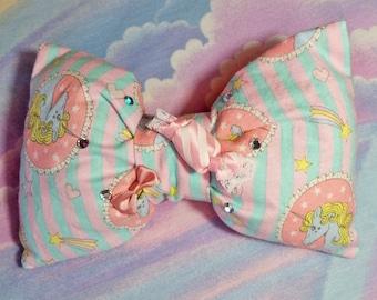 Unicorn hair bow, fairy kei 90s 80s sweet lolita sparkle  hair clip
