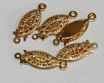 4 pcs of gold  plated fish hook clasp  20x7mm