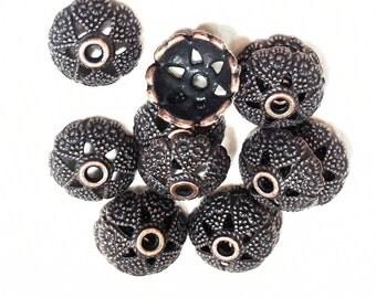 50 pcs of Antiqued copper flower bead caps 8mm