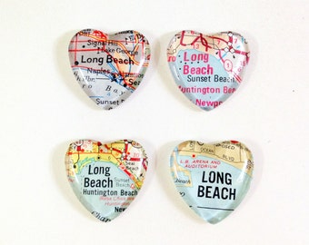 SALE Vintage Map Magnet - Heart Shape - Long Beach CA - choose from 4 different maps