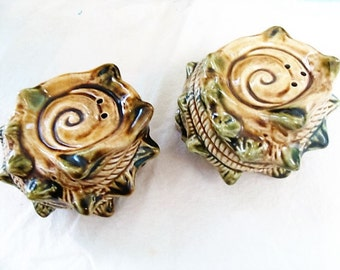 Mid Century Shell Salt and Pepper Shakers Japan